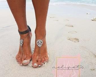Rhinestone Anklet,Bridal Swarovski Crystal Barefoot Sandals,Boho Slave Anklet,Foot jewelry,Ankle Bracelet,Destination Wedding,ULA design