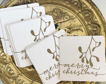 Holiday Coasters, Christmas Coasters, Christmas Table Decor, Merry Christmas Mistletoe Coasters, Secret Santa Gifts Christmas Party Supplies