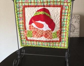 seasonal Mini appliqued snowman quilt - CB