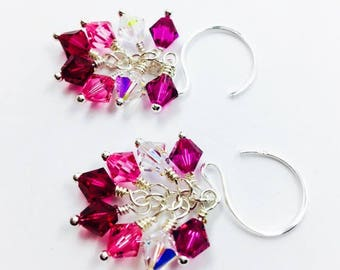 Multi-colored crystal earrings, Swarovski bicones, sterling silver, pink ombré, bridesmaid gifts, gift for her, under 30