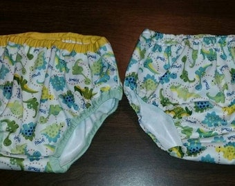 PAIR of 18-24 month Babyville PUL Diaper/Nappy Covers, water (pee) proof,  dinosaurs green blue yellow