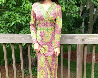Vintage 70s Paisley Provencal Print Maxi Dress Printed Boho Dress Hippie Maxi Dress