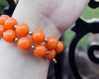 Bakelite Bead Memory Wire Bracelet in Orange