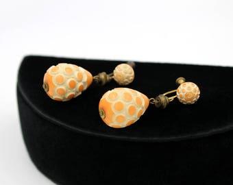 Resin Washed Galalith Earrings, Orange over Cream, Vintage Earrings