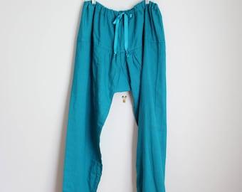 Indian cotton harem pants - teal green yoga pants / vintage harem pants - woven cotton harem pants / drop crotch pants - drawstring pants