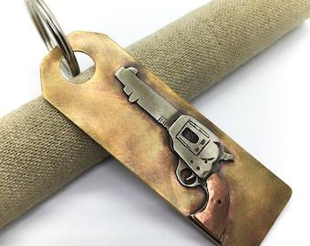 Colt single action army revolver keychain old west gun keychain