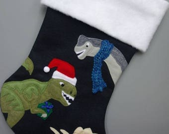 "SOLD OUT for 2017--Dinosaur Christmas Stocking--""Dinosaurs Holiday"""