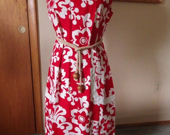 Lovely Vintage Red and White Hawaiian Cotton Dress Pake Muu Size XL
