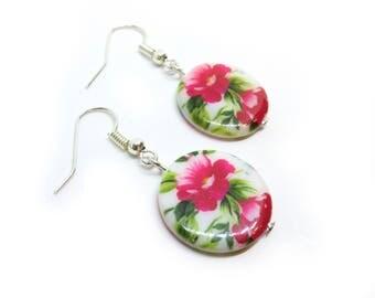 Flower Shell Beaded Silver Earrings