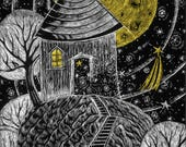 House of the Moon Handmade Greeting Card