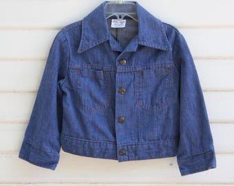 Kids Vintage Denim Jacket, Billy the Kid, Jean Jacket, Girls Jacket, Boys Jacket, Blue Jacket, Hipster Kids, 1970's KIds Denim, Like New
