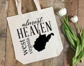 Almost Heaven | West Virginia Cotton Tote Bag