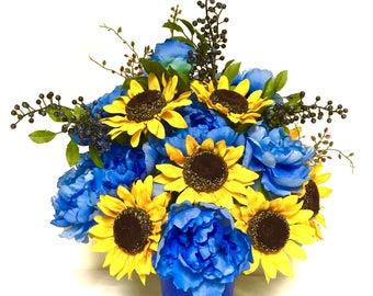 Sunflower Peony Floral Arrangement Centerpiece Blueberries Cobalt Blue Yellow