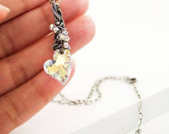 Heart necklace | valentine's day gift | rainbow crystal pendant | unique silver chain swarovski crystal necklace | gift for girlfriend wife