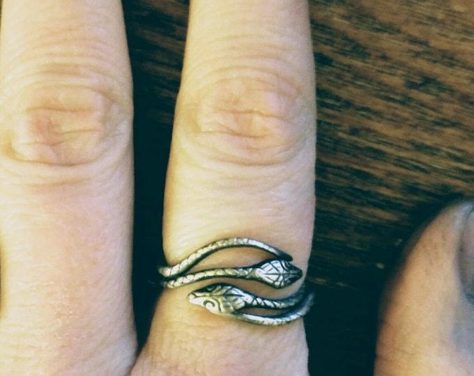 Snake Ring, Double Snake Ring, Sterling Silver Ring, Sterling Snake Ring, Silver Snake Ring, Serpant Ring, Handmade Gift, Size 5 6 7 8, V587