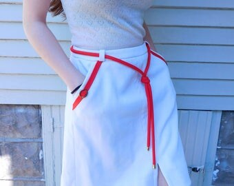 Vintage Nautical Skort By Haymaker, Red and White Skirt with Built In Shorts, Sportwear, Tennis Skirt