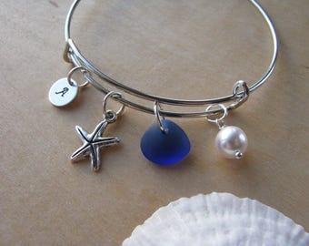 Blue sea glass bracelet adjustable Royal Blue bridesmaid bracelet starfish jewelry letter charm beach wedding personalized bridesmaid gift
