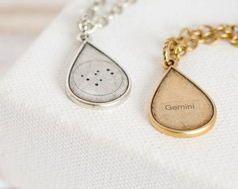 Gemini Teardrop Necklace, Gemini Gifts, Gemini Constellation Necklace, Gemini Star Sign Necklace, Gemini Necklace, Zodiac Gemini Jewelry