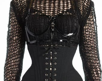 "Black Canvas Corset XS 21"" for a 24-26"" waist  -  silver eyelets (Artifice photoshoot sample)"