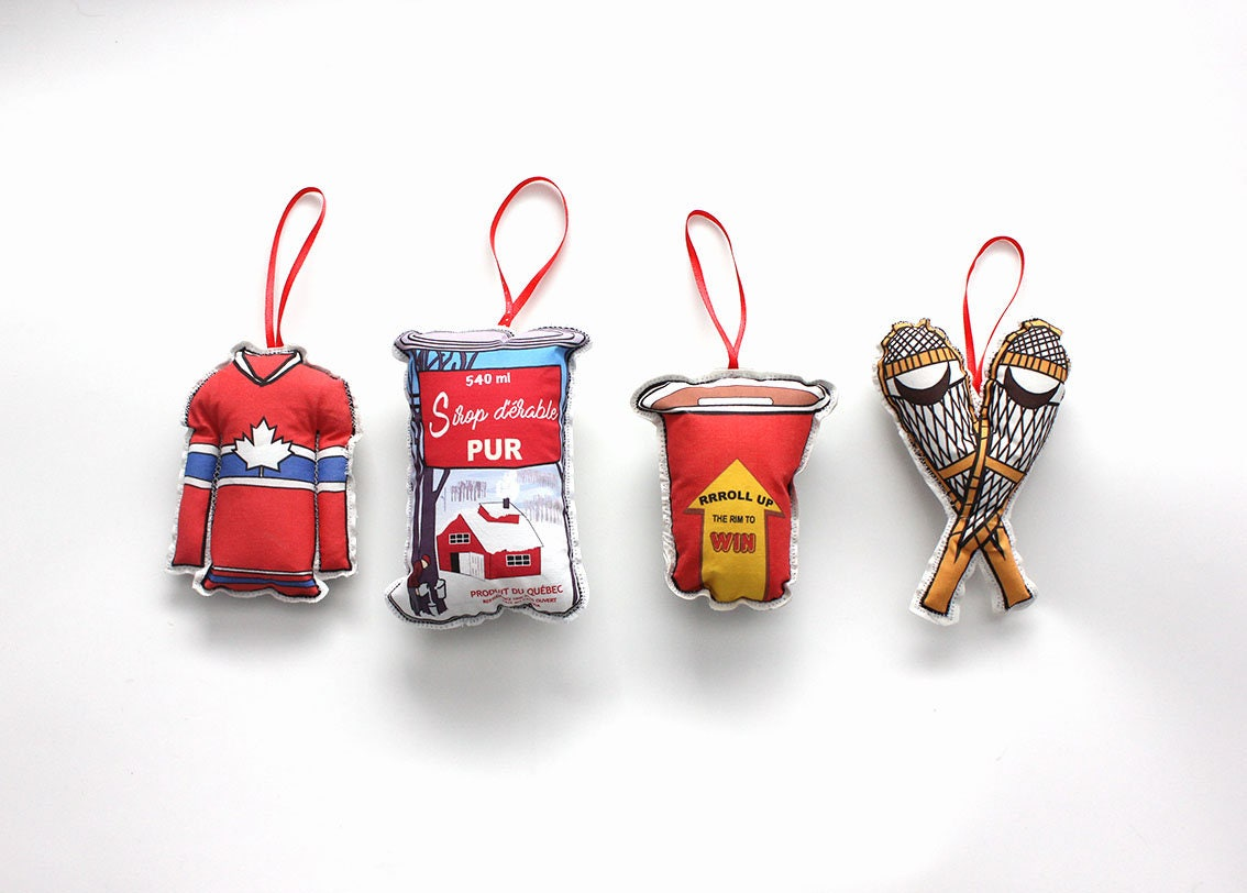 Christmas Ornaments Set of 4 Canadian themed ornaments