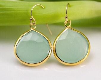 March Birthstone Earrings, Aqua Blue Chalcedony Dangle Earrings, Gemstone Drop Earrings Gold, Gift Idea for Girlfriend, Jewelry Trends