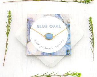 Simple Blue Opal Necklace, Best Friend Gift, Healing Gemstone Necklace, Meaningful Necklace, Opal Pendant Gold, Gemstone Choker, Dainty Opal