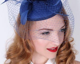 """Navy Blue Fascinator - """"Juliet"""" Navy Blue Round Felt Sinamay Hat w/ Feathers and Satin Ribbons"""