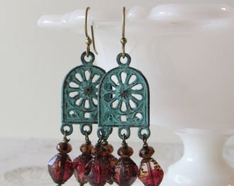 Patina Cathedral Chandelier Earrings // Verdigris Brass & Glass Dangles