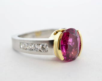 14k White and Yellow Gold 2.78ct Pink Tourmaline and Diamond Ring- Size 6