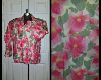 B near me ... Vintage 80s blazer / 1980s boyfriend jacket / slouchy boxy oversize / loud bold floral / NOS unworn ... M L XL OS