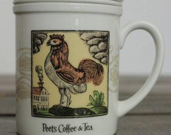 "Peet's RARE Coffee and Tea Mug with Infuser Strainer Lid  ""ROOSTER"" by Yoshiko Yamamoto Arts and Craft Press Ceramic with Cover"