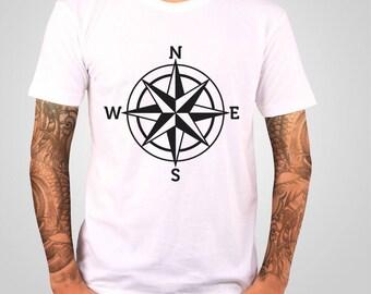 Compass T-shirt , Travel Tshirt , Nautical T-shirt , Arrow Tshirt , Boyfreind Gift , Graphic Tee  , American Apparel , Art To Wear