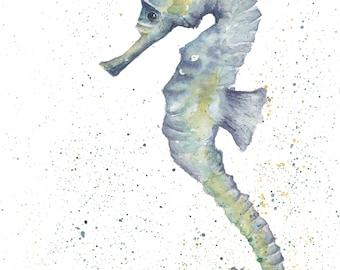 Original Seahorse watercolour A4 painting fine art sealife nature animal art nursery bedroom wall art home decor contemporary