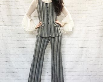 Vintage 60s Beatles Mod Edwardian Waistcoat Flared Cropped Pants Suit Vest Set XS S Navy Herringbone Striped Knit