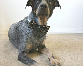 """Black and White & Gold Arrows Calico """"Straight"""" Dog Bow Tie - Tribal Pet Accessories - Hipster Dog Collar Accessory - Dog Bowtie - Dog Bows"""