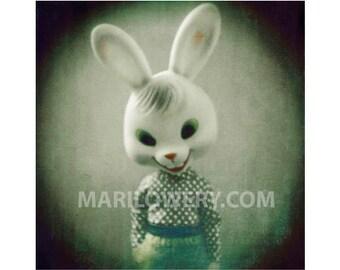 Creepy Cute Toy Rabbit Photography Print, 5x5 Inch Print, Creepy Bunny, Holgaroid, Doll Photography, Small Wall Art