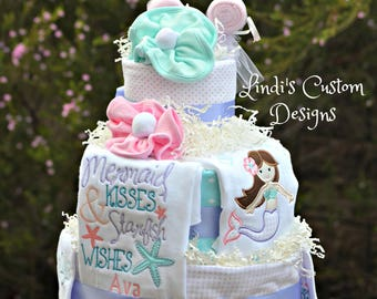 Mermaid Diaper Cake Deluxe Embroidered, Mermaid Baby Shower Cake Table Centerpiece, Mermaid Baby Gift, Embroidered Mermaid Baby Gift Unique