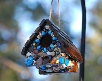 Tropical birdhouse,Sparrow Birdhouse,shell birdhouse,Turquoise Blues,Sun Kissed Mosaic birdhouse,blue mosaic,stone birdhouse,art