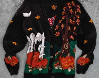 Vintage Halloween Sweater | Fall Cardigan for Halloween Party | Unisex Adults Size Large (Mens or Womens) | Hand Knitted 1980s 90s