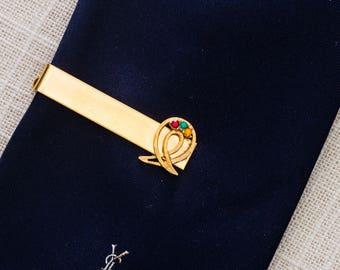 Rhinestone Gold Tie Clip Vintage Red Green Amber Ribbon Design Men's Accessories Add On 7WW