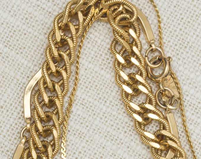 Vintage Gold Bracelet Set Curb Chain Monet Curved Bar Chain Emmons Serpentine Chain Costume Jewelry 7OO
