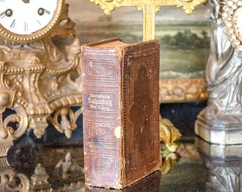Antique German Bible, Prayer Book, Leather Bound, Gilt Lettering