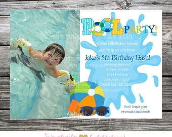 Pool Party Invitation, Splish Splash, Pool Birthday Invitation, Under the Sea Invitation, photo invitation, Pool Party, Pool Bash, Swimming