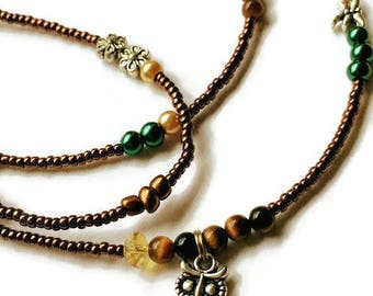 Wise Woman Tiger's Eye Owl Waist Beads, Tiger's Eye Waist Beads, Fall Waist Beads, African Gemstone Waist Beads, Tiger's Eye Belly Chain