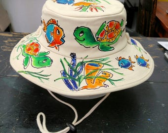 Sealife Widebrim Hat Handpainted for Men and Women