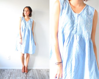 Vintage blue nightgown romper dress // oversized romper // simple nighty romper // floral romper dress // light blue romper // medium romper