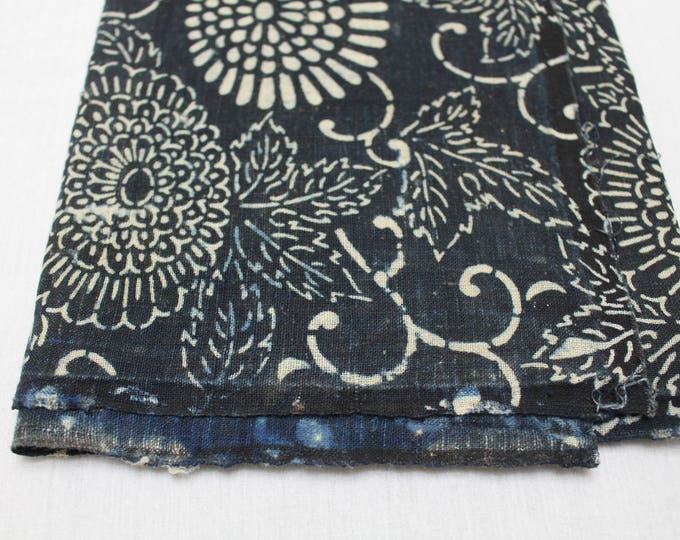 Japanese Katazome Cotton. Boro Textile. Natural Indigo Stencil Dyed Folk Fabric  (Ref: 1871)
