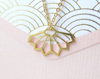 Gold Geometric Necklace - Minimalist Necklace, Delicate Gold Necklace, Modern Geometric Jewellery, Gold Necklace, Geometric Necklace