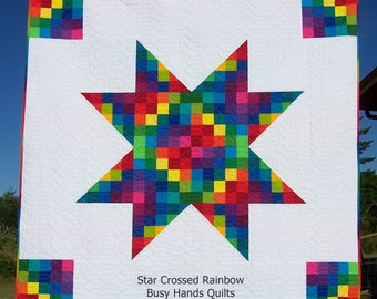Ready to Ship, Star Crossed Rainbow, Lap Quilt, Handmade Quilt, Blanket, Throw, Busy Hands Quilts