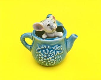 Vintage 60s Miniature Mouse in Teapot Figurine, Kitsch Cute Ornament